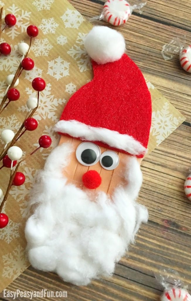 Craft Sticks Santa Craft – Christmas Crafts for Kids   Easy Peasy and Fun