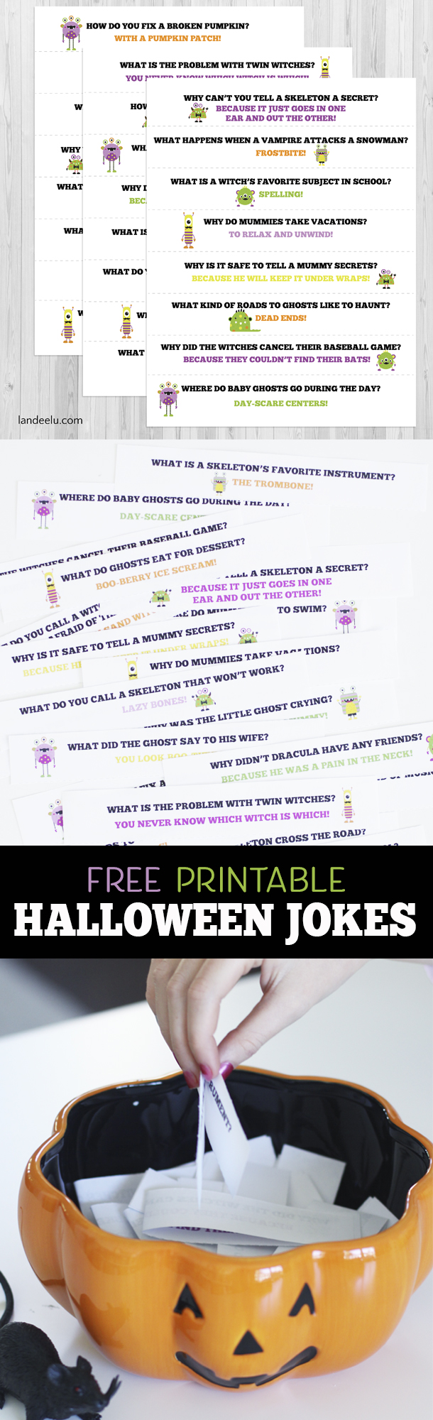 These printable Halloween jokes are perfect to put in a lunchbox or to take turns telling at a Halloween party!