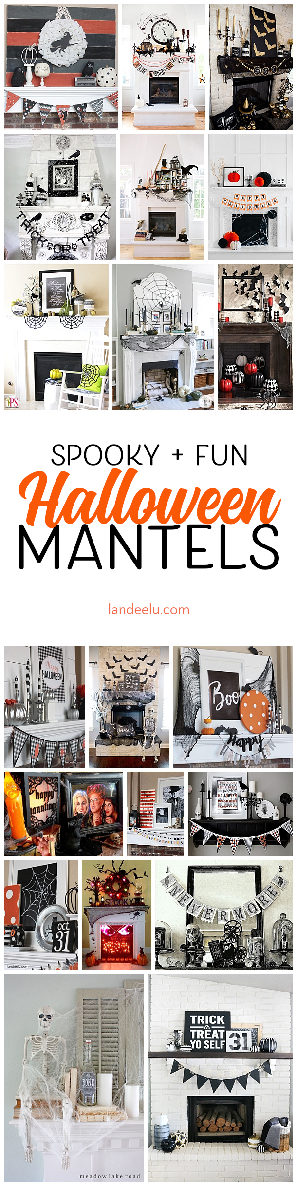 These mantel Halloween decoration ideas are to die for!!  Love every one and especially the 6th one!