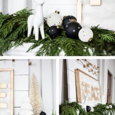 Christmas Mantel with Fresh Christmas Garland