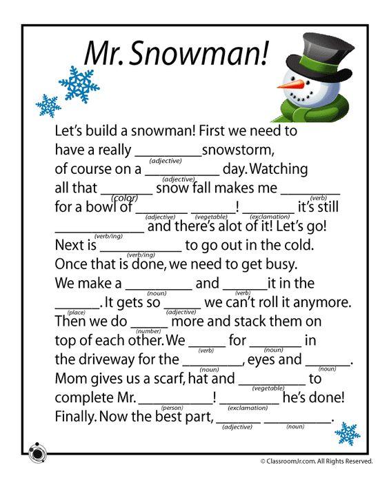Mr. Snowman Winter Mad Libs Printable   Woo! Jr.