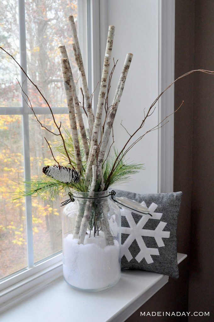 """DIY """"Snow Day in a Jar"""" Birch Branch Arrangement   Made in a Day"""