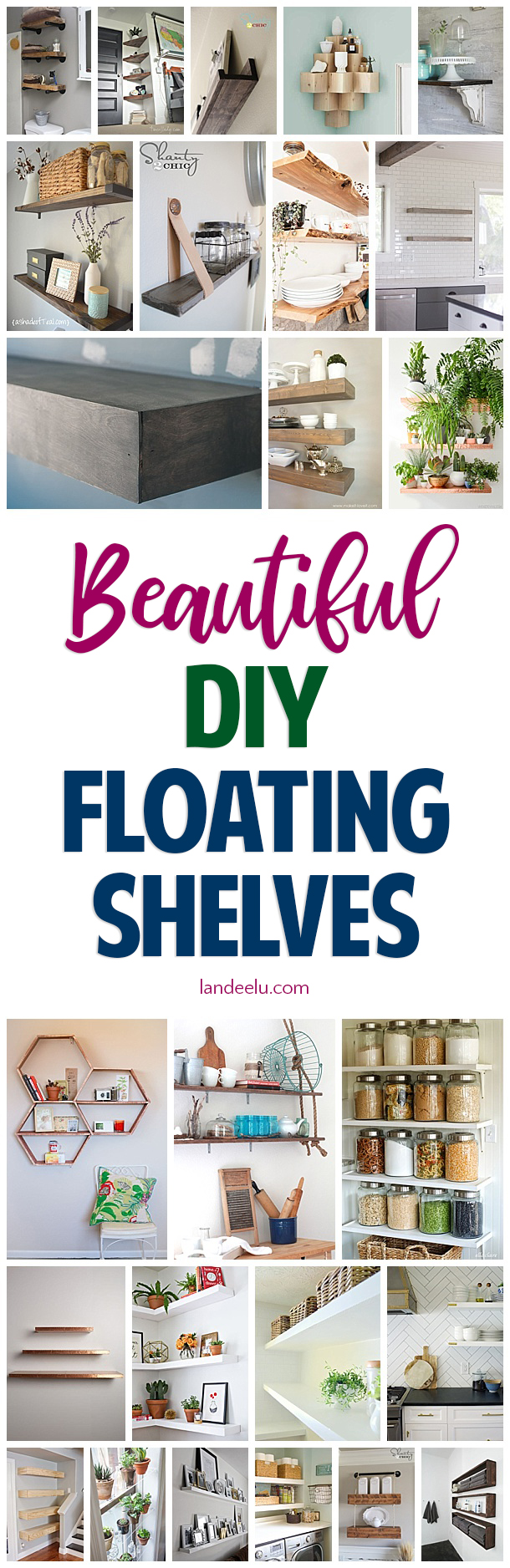Check out all of these awesome DIY floating shelves tutorials! A fantastic and inexpensive project with high impact! #floatingshelves #diy #DIYproject #diyfloatingshelves #openshelving #diyhomedecor