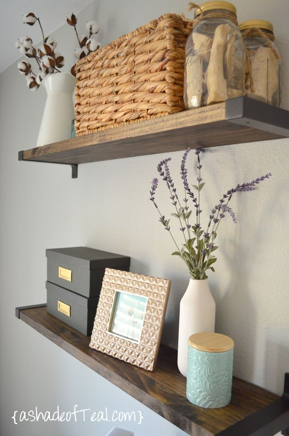 DIY Rustic Shelves with Ikea Brackets | A Shade of Teal