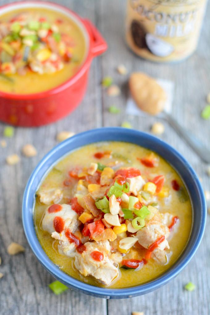 Instant Pot Thai Peanut Chicken Soup | The Lean Green Bean