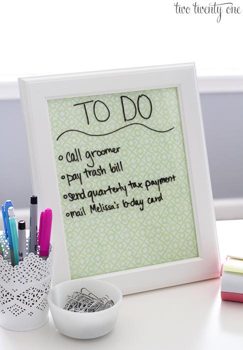 DIY Dry Erase To-Do List | Two Twenty One