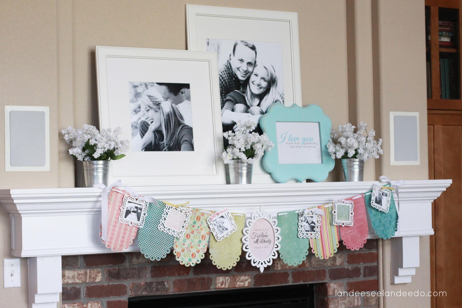 wedding shower banner mantel. Black Bedroom Furniture Sets. Home Design Ideas