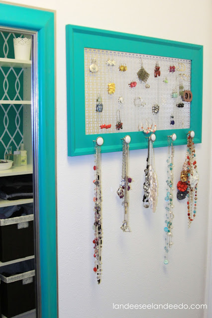 DIY Jewelry Organizer for your Closet - Tutorial via Landeelu - Closet Organization Ideas and Space Saving Hacks