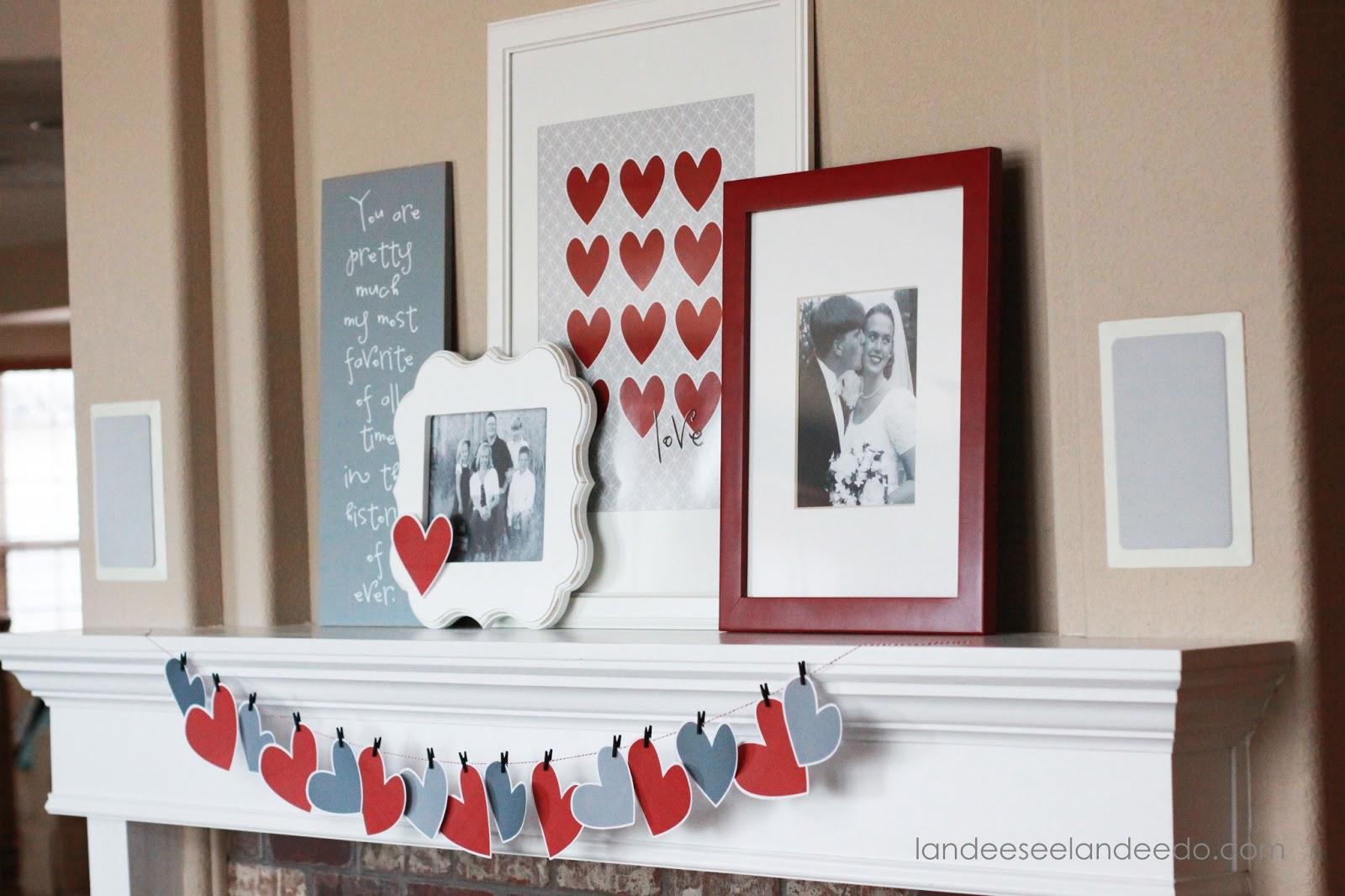 Valentine's Day Mantel Decor And Printable