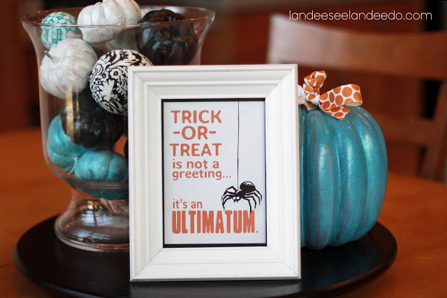 """Trick or Treat is not a greeting...it's an ultimatum."" Fun Halloween Free Printable | Landeelu"